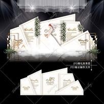 浅香槟色主题婚礼效果图设计婚庆舞台背景