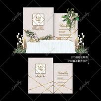 莫兰迪色系婚礼效果图设计大理石婚庆背景