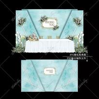 蒂芙尼蓝婚礼效果图设计大理石婚庆迎宾区