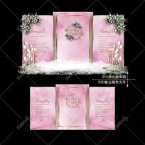 粉金色婚礼效果图设计简约大理石婚庆迎宾区