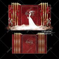 红色复古婚礼效果图设计大理石婚庆迎宾区