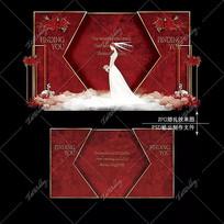红色欧式婚礼效果图设计大理石婚庆迎宾区