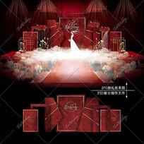 红色欧式主题婚礼效果图设计大理石婚庆背景