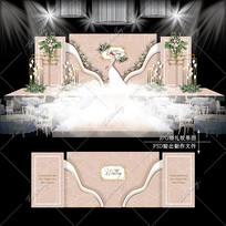 香槟粉色系婚礼效果图设计大理石婚庆背景