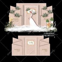 香槟粉色系婚礼效果图设计婚庆迎宾区背景