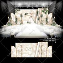 香槟色系大理石婚礼效果图设计婚庆舞台背景