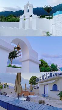 白色建筑游玩照片