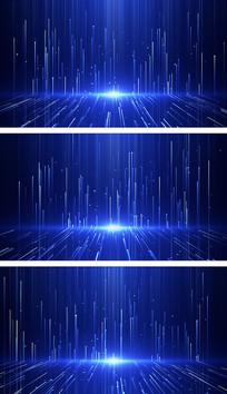4K蓝色粒子闪烁线条空间颁奖视频背景素材