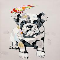 高清立体宠物狗油画装饰画