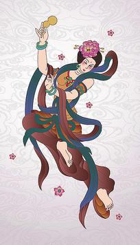 工笔飞天仙女手拿葫芦插画