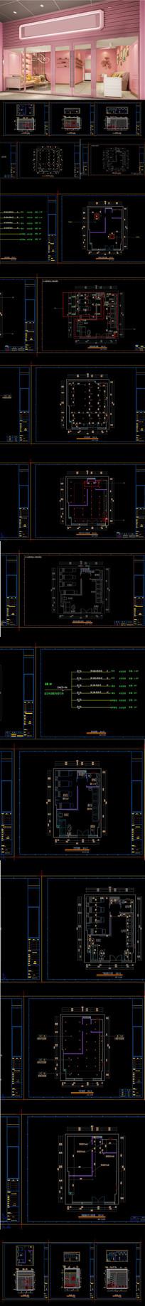 时尚网红美甲店CAD施工图 效果图