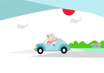 手绘人物儿童卡通小朋友开车去上学插画