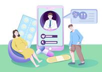 手绘人物卡通医疗医生在线指导用药场景插画