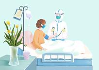 手绘人物小清新护士给患者量血压的场景插画