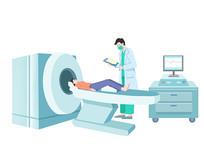 手绘人物医生CT机检查女患者场景插画