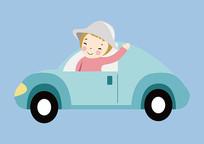 原创手绘人物卡通小女孩开车插画