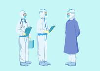 原创手绘人物卡通医护人员医生对接插画