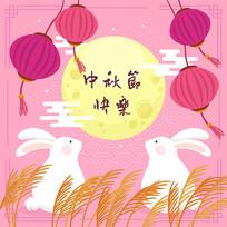 原创手绘插画中秋月亮兔子元素
