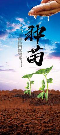 简约农场蔬菜种植X展架设计