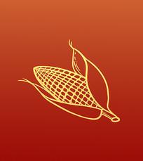 原创手绘工笔勾线农作物丰收成熟的玉米