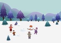 小清新冬季树林里孩子们堆雪人玩雪球场景