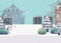 原创手绘卡通冬季户外植物建筑街景插画