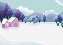 原创手绘小清新冬季户外松树林房屋建筑插画