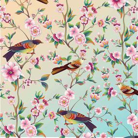 花鸟插画分层喷绘高清设计图 PSD