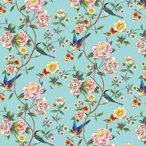 牡丹花卉插畫分層噴繪高清設計圖 PSD