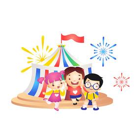 儿童节参观马戏团插画