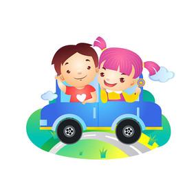 儿童节小朋友郊游插画