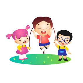 儿童节小朋友跳长绳插画