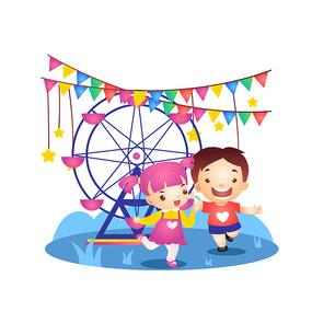 儿童节游乐场摩天轮插画
