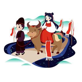 古风男女青牛旅行踏春插画