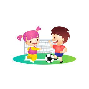 男孩女孩踢足球插画