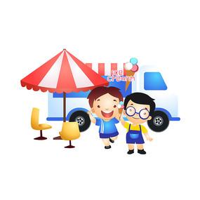 夏日冰淇淋车插画