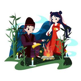 中元节男女烧纸钱祭祖插画