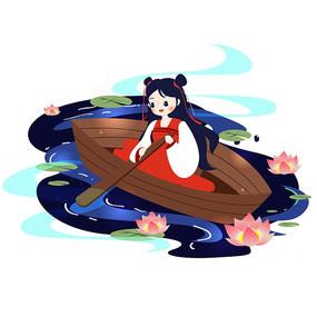 中元节少女泛舟