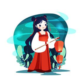 中元节少女提灯笼祭祖