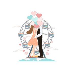 摩天輪前的情侶插畫 AI