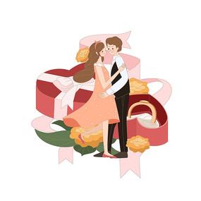 情人節求婚插畫 AI