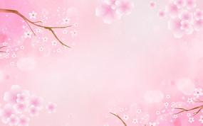 彩色漸變桃花節卡通裝飾風景背景 PSD