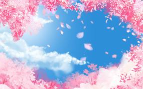 春夏節氣櫻花卡通植物風景背景 PSD