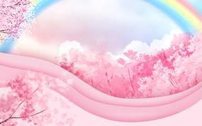 粉色櫻花桃花節裝飾卡通植物風景背景 PSD