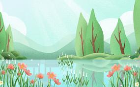 卡通插畫植物裝飾河流漸變背景 PSD