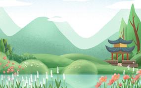 卡通插畫植物裝飾綠色樹木背景 PSD