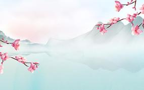 桃花節卡通裝飾風景背景 PSD