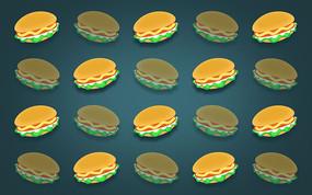 汉堡矢量元素排列背景素材 PSD
