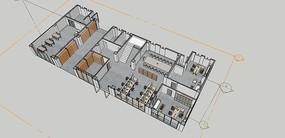 办公室建模 skp