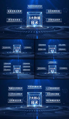 蓝色科技数据分类结构框架展示模块AE模板 aep